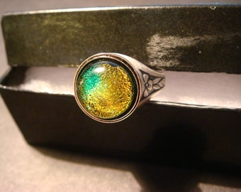 Victorian Style Dichroic Glass Antique Silver Ring- Adjustable (1045)