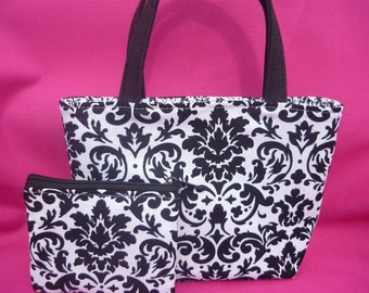 Black and White Damask Kids Purse and Coin Bag Set
