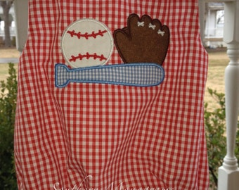 Personalized Baby Infant Newborn Red and White Gingham Check Bubble Romper Sports Baseball appliqué