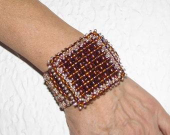 Gold Browm Beadwork Beaded Jewelry / bracelets Cuff