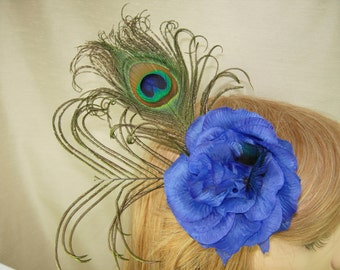 Peacock feather fascinator,Masquerade Ball wedding fascinator,Blue flower fascinator.Cocktail fascinator,bridal blue silk flower fascinator,