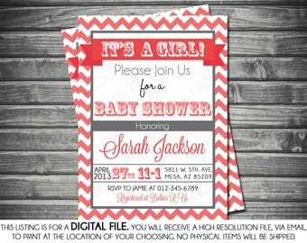 Girl's Baby Shower Invitation - Modern, Pink, Gray, Chevron, Printable, Digital