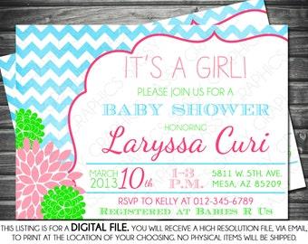Girls Baby Shower Invitation - Chevron, Gray, Pink, Green, Turquoise, Mums, Printable, Digital