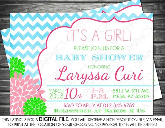 Girls Baby Shower Invitation Chevron Gray Pink Green