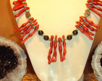 Bamboo Coral, Turquoise Heshi,and Black Lava Rock