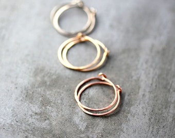 Gold Hoop Earrings, Recycled 14k Rose Gold, Palladium White Gold or Yellow Gold Simple, Petite Hammered Hoops - Your Choice of One Pair