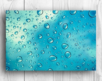 Color  Photography Digital Photography Rain photography rain drops water drops aqua  blue Wall Art Fine Art Photography Print