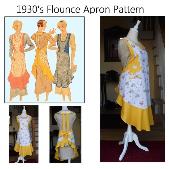 1950s House Dresses and Aprons History A  Vintage McCalls 1930s Full Size Apron Sewing Reproduction Pattern With Flounce & Appliques  Size L # $12.00 AT vintagedancer.com