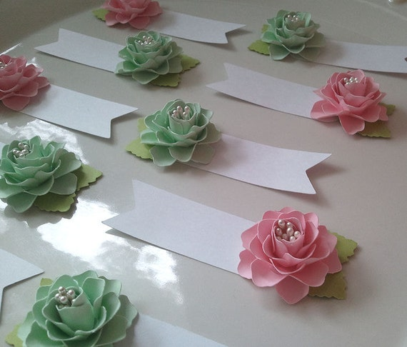 Place Cards Escort Cards Paper Flowers Weddings Table