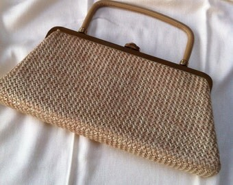 1950s Block Structured Raffia Purse