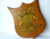 Decoupage Wood Plaque of Royal coat of arms of the United Kingdom