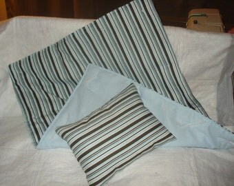 Blue and brown striped quilt and pillow set for Canines and Felines - dcqs3