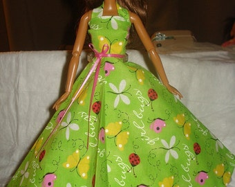Bright green Summer formal for Fashion Dolls - ed363