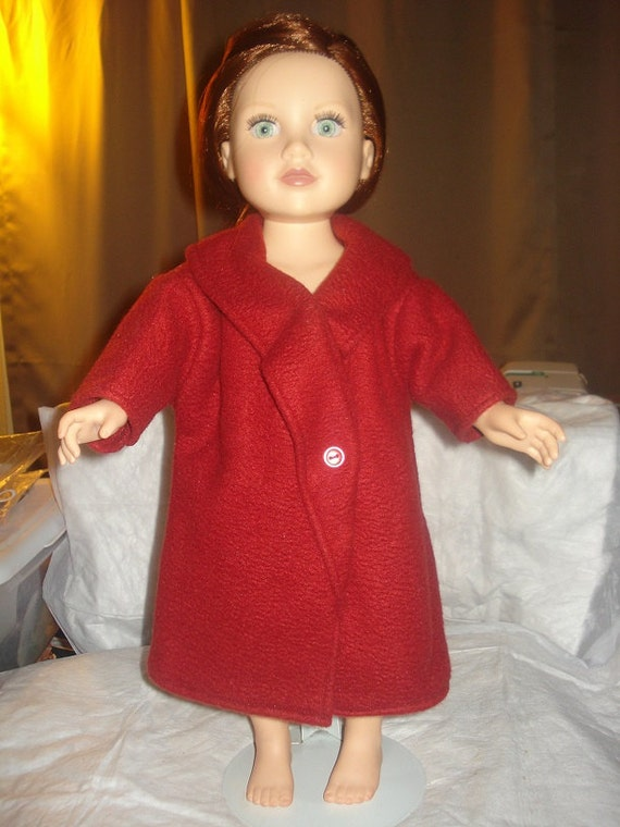 Handmade maroon full length fleece coat for 18 inch Dolls - ag53