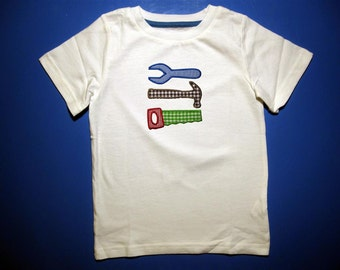 Baby one piece or  toddler tshirt - Embroidery and appliqued boys tools