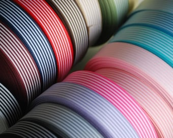 "5 YDs x 15mm(app. 5/8"")  STRIPED Ribbon Double Face  (17 Colors)"