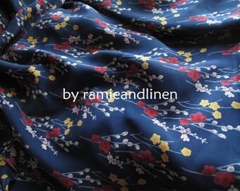 "Silk fabric, vintage floral print crepe de chine silk fabric, pure silk fabric, dress fabric, half yard by 45"" wide"