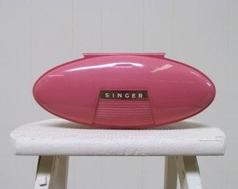 Vintage 1960s Singer Buttonholer / 60s Pink Plastic Atomic Age Case