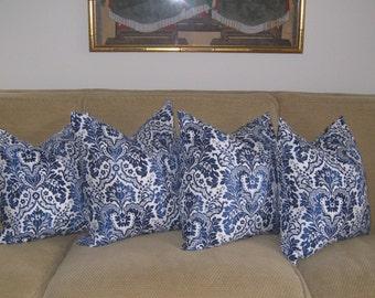 Pillow Cover Cushion  blues navy ikat suzani tribal damask 18x18, 20x20, 24x24, 16x16, 14x24, 12x16
