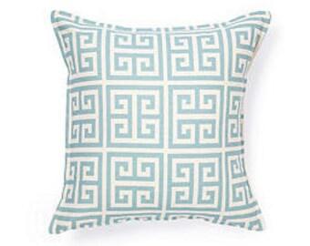 "Pillow, cushion cover 20""  blue geometric, Greek Key   pattern"