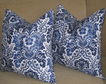 "NEW- Pillow Cover Cushion  20""x20"" navy blue  white damask"