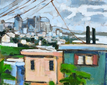San Diego Painting Skyline from Mission Hills