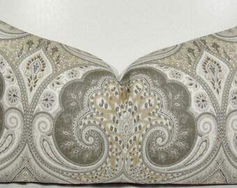 KRAVET - Paisley Ikat Limestone Grey Lumbar Cover -Decorative pillow cover - throw pillow - accent pillow - gray pillow