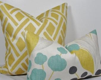 KRAVET Floral Lumbar pillow - Decorative pillow cover - Turquoise Aqua Throw Pillow - Yellow Gray pillow