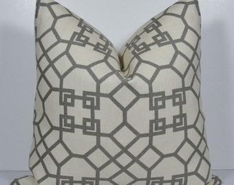 KRAVET Gray Lattice Trellis Geometric pillow, Windsor Smith Designer Decorative pillow cover, Throw Pillow in square and lumbar, accent