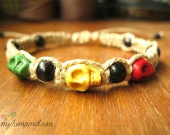 Rasta Hemp Bracelet Natural Hemp Skulls and Black Wooden Beads