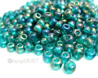 Glass Seed Beads, Green Emerald Aurora Borealis Transparent  Finish 6/0