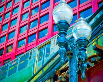Wabash Avenue L Train - Chicago - train photo - Wabash and Jackson - vibrant urban energy - red, green, teal - deco