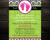 Mod Damask Print Printable Baby Shower or Birthday Invitation -- Any color