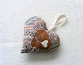 Aqua and brown heart ornament - Linohandmade