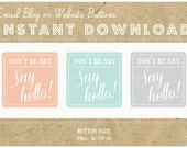 INSTANT DOWNLOAD - Set of 3 EMAIL Buttons -  'Say Hello' Blog or Website Social Icon