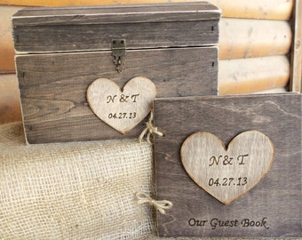 CoUPON CoDE:  BLKFRI10 - Rustic Wedding Set - Card Box AND Matching Guest Book  - SAVE by buying the Set