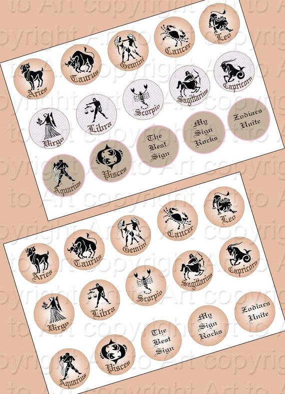 ZODIAC SIGNS. Digital Collage sheet (269) make bottle caps, pendants, jewelry, crafts, scrapbooking, astrology, calendars instant download