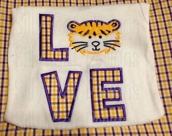 Tiger Love Applique Machine Embroidery Design