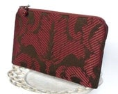 Small Zipper Pouch, Change Purse, Coin Pouch - Twill Damask in Raspberry and Espresso