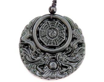 Natural Stone Dragon 8-Diagram Yin-Yang Amulet Pendant 45mm x 45mm  TH151