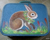 Handpainted Vintage Bunny Suitcase