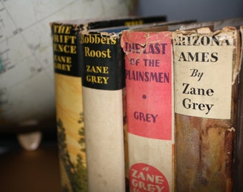 Zane Grey Books, Boys Room, Western Books, Manly Man Books, Collectible Books, Blue Books, Brown Books, Photography Prop, Zane Grey Stories
