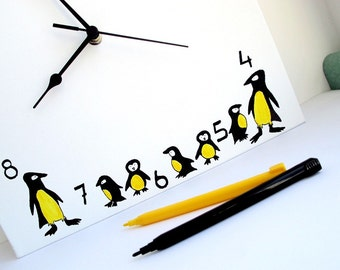 Wall clock- black white and yellow penguines clock - Square Hand painted on canvas, unique clock