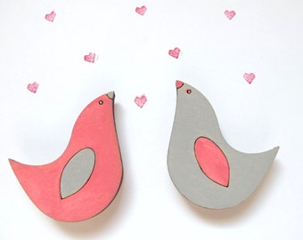 Magnets- Set of 2 wooden love birds magnets- pink and gayr -funny valentine magnets for children/teens/adults/ hostess gift