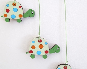 Nursery Mobile - Turtles mobile decor,wooden green turtles wall art - colorful mobile, baby mobile,baby animals happy mobile