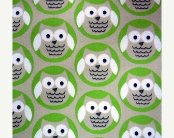 Sale - Owl Circles - Green and Grey - FLANNEL 1 yard