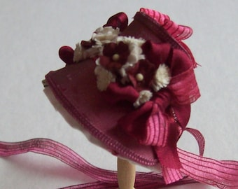 Handmade 1/12th scale dollhouse miniature beautiful dark pink silk narrow bonnet