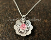Custom Hand Stamped Sterling Silver Flower Necklace Domed Flower with birthstone