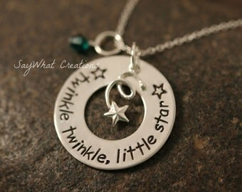 "Sterling Silver Falling Star Necklace Custom Hand Stamped ""Twinkle twinkle, little star"""