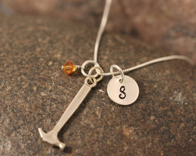 Sterling SIlver Mini Initial Hand Stamped Hammer Charm Necklace
